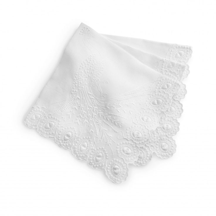 Peacock Dinner Napkins (set of 8) - White/White - Wedding Gifts - Gifts