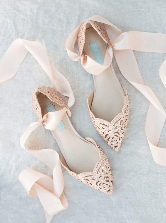 Blush Crystal Bridal Shoes with Ribbon Ties