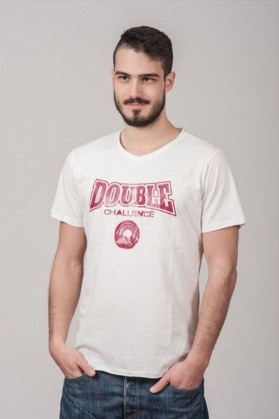 "Ανδρικό T shirt ""Double Challenge"" White"