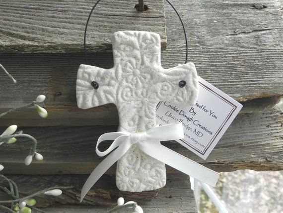 Imprinted Cross Baptism Favor / Christening Salt Dough Ornament