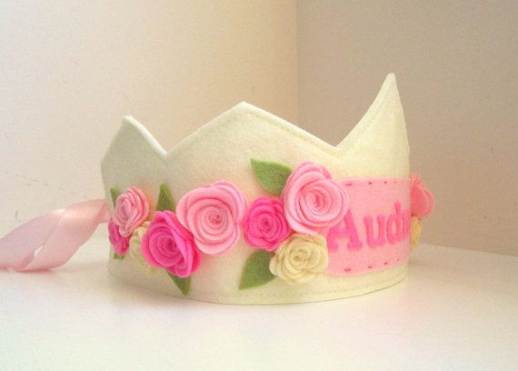 Corona de princesa de fieltro, fieltro corona de cumpleaños, personalizadas…