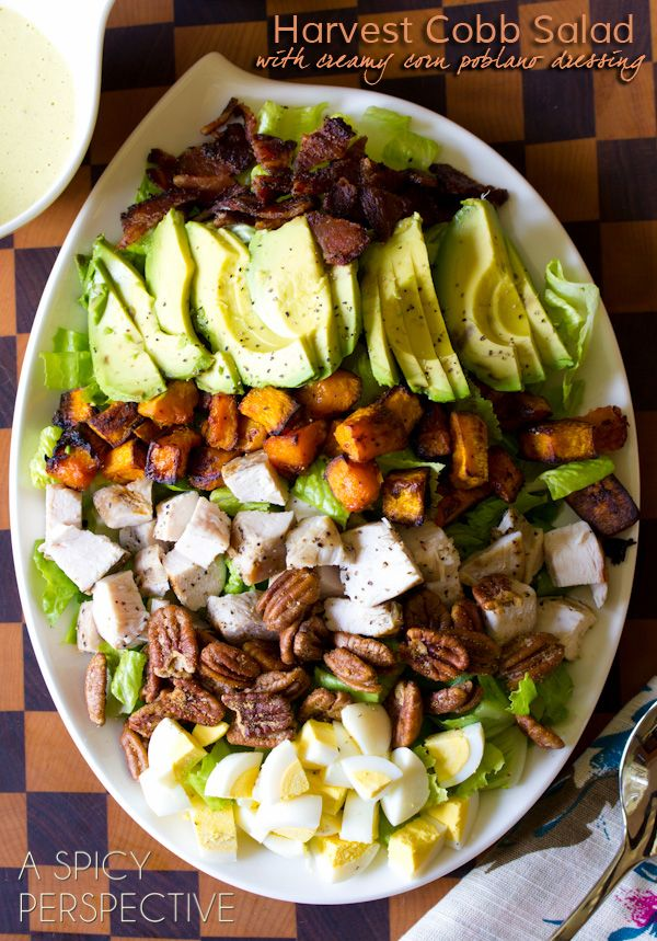 Huge cobb salad piled high with protein, veggies and cheese.  Topped with a creamy corn and poblano dressing!