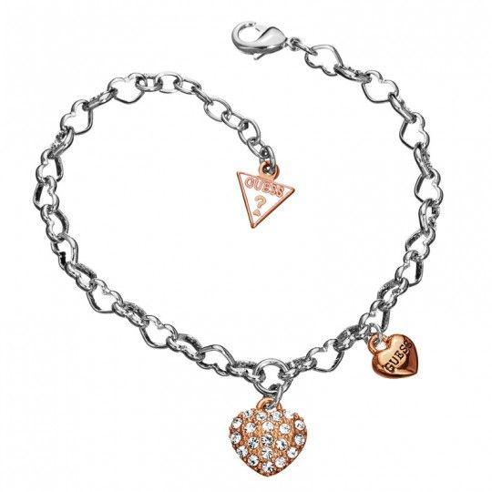 Guess Armband UBB81174 | Harten armband - elke schakel is een hartje - rosé kleurige hangers - gezet met zikonia - verstelbaar in lengte | Gratis verzonden & ingepakt en geleverd in originele verpakking!