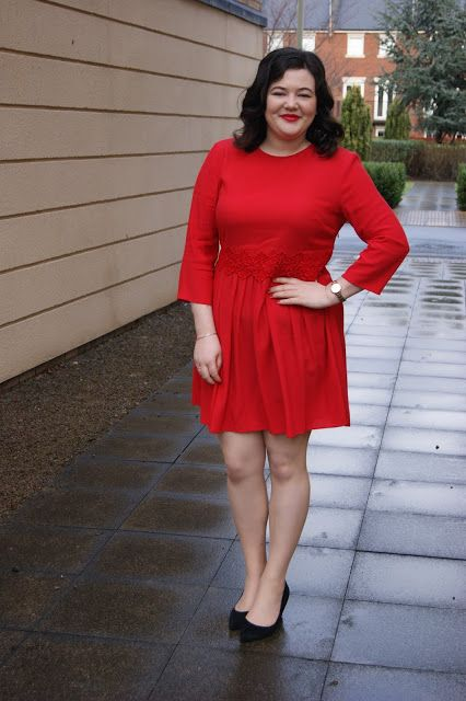 Marks & Spencer red smock dress with crochet waistband and Whistles black suede block heel shoes | Frills 'n' Spills