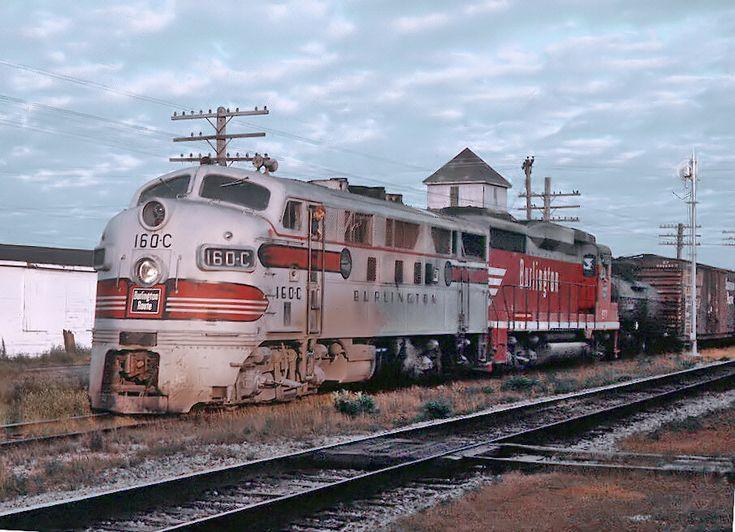 https://flic.kr/p/DCN7Uz | CB&Q Milledgeville, Illinois -- 11 Photos | CB&Q 160C, an F3A built in 1947, and a GP30 with the Pick Up at Milledgeville, IL on August 13, 1964.