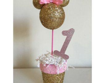 Minnie Mouse Pink and Gold Birthday Centerpiece by TheGirlNXTdoor