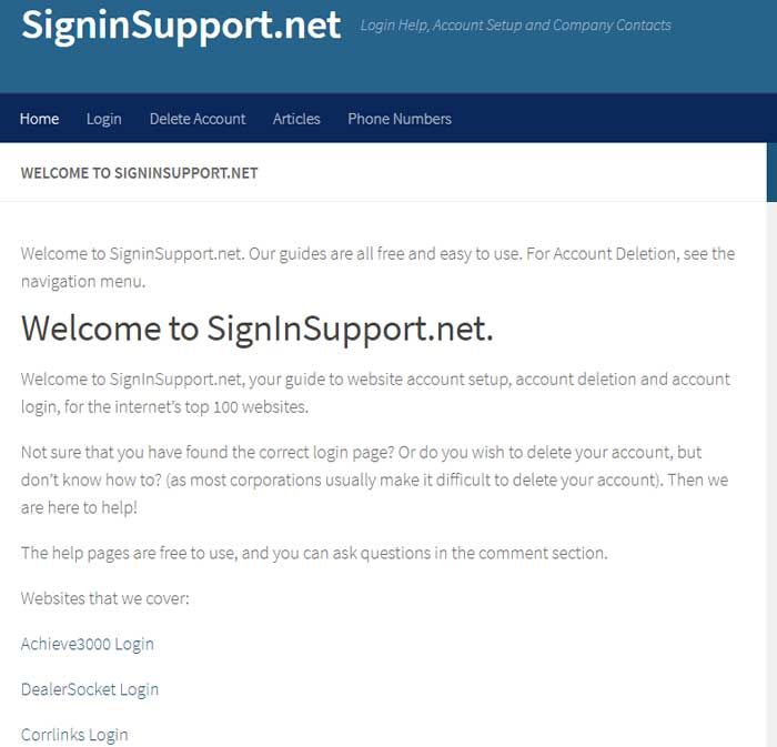 Free guide to website account setup, account deletion and account login, for the internet's top 100 websites.