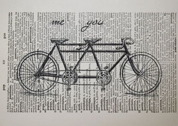 Tandem Bike Print on Vintage Latin Dictionary Page - 5 x7 Romantic Me and You Tandem Bicycle Print - Bike Art on Etsy, $10.00