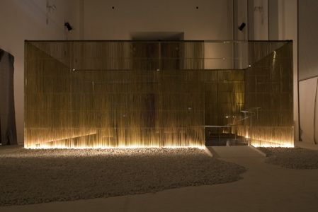 installation by architect Kengo Kuma of a concept home based on traditional Japanese interiors