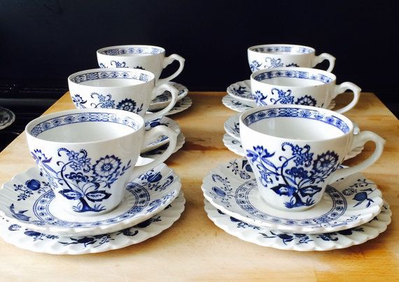 "J&G Meakin Blue Nordic ""Onion"" Tea Set (free shipping)"