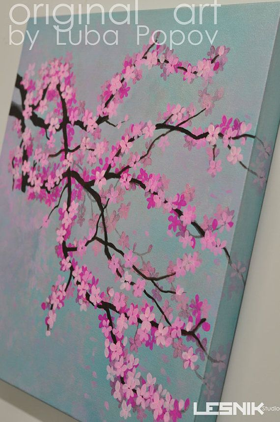 Cherry Blossom on Canvas Made to Order Custom Colors Modern Large Painting Tree Branch Acrylic on 24x24 Wall art on Etsy, $199.00