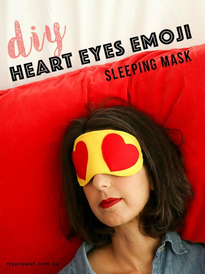Emoji heart eye mask DIY - Heart Eyes    This idea for an eye mask fits in perfectly for Valentine's Day! Using the simple design of 2 emoji hearts. Take a look at Cinta's step by step guide.