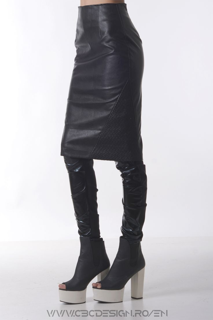 The OBSIDIAN Skirt  is a black faux-leather midi skirt. It's a smart choice for a sharp strong look, either for a night out or an evening with friends. In a bold approach it can also make an elegant look work for an outspoken woman.