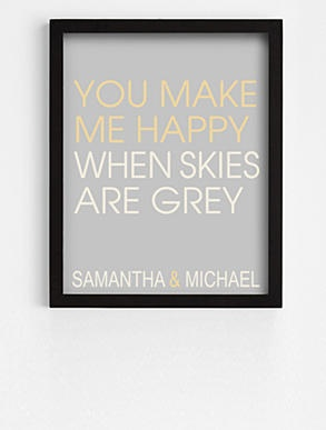 Anniversary Ideas - you make me happy art - black frame