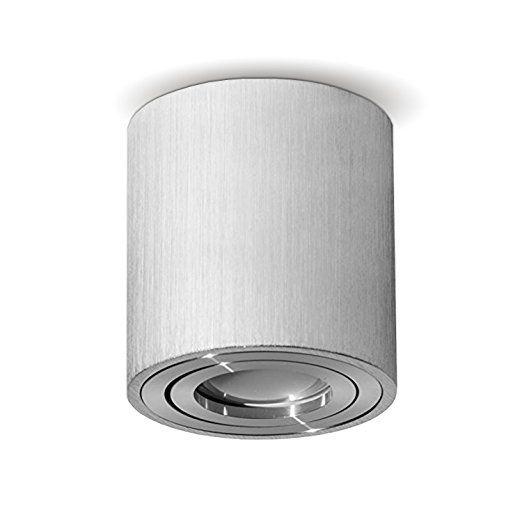 MILANO GU10 230V LED Halogen [rund, silber, schwenkbar] Aufbauleuchte Deckenlampe Würfelleuchte Aluminium Spot OHNE LEUCHTMITTEL