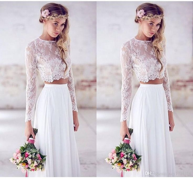 2015 Hot Sale Two-pieces Crop Top White Wedding Dresses Chiffon Ruched Floor Length Wedding Gowns Spring Lace Long Sleeve Wedding Dresses Online with $119.13/Piece on Xzy1984316's Store | DHgate.com