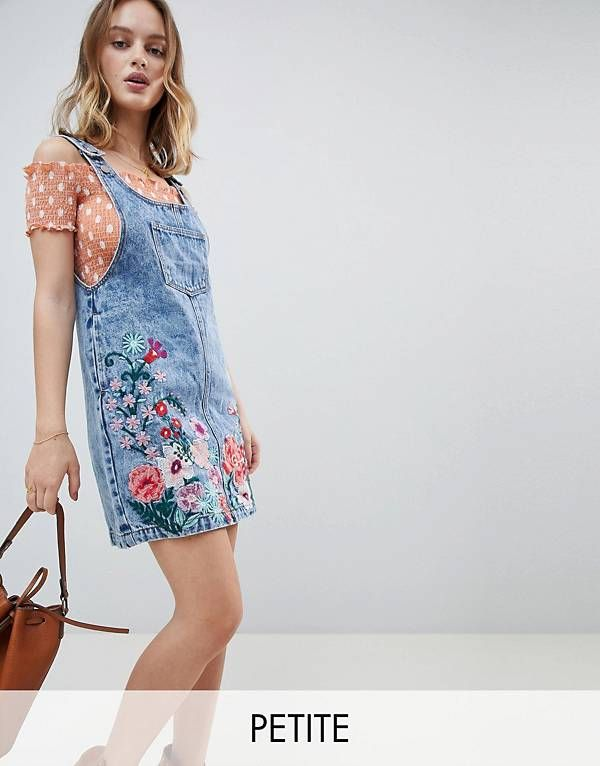 70f820f7558 Glamorous Petite Mini Pinafore Dress With Floral Embroidery In Denim ...