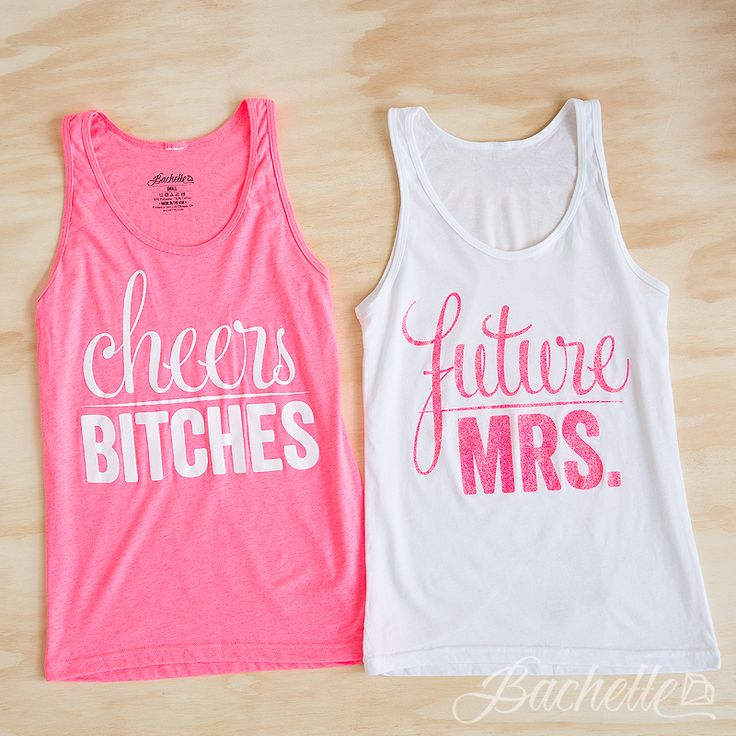 """Super cute """"Cheers Bitches"""" and """"Future Mrs."""" glittery bachelorette party shirts available at bachette.com"""