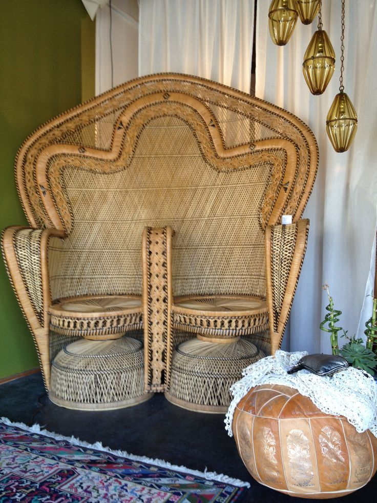 double wing back chair vintage bohemian boho style interiors decor