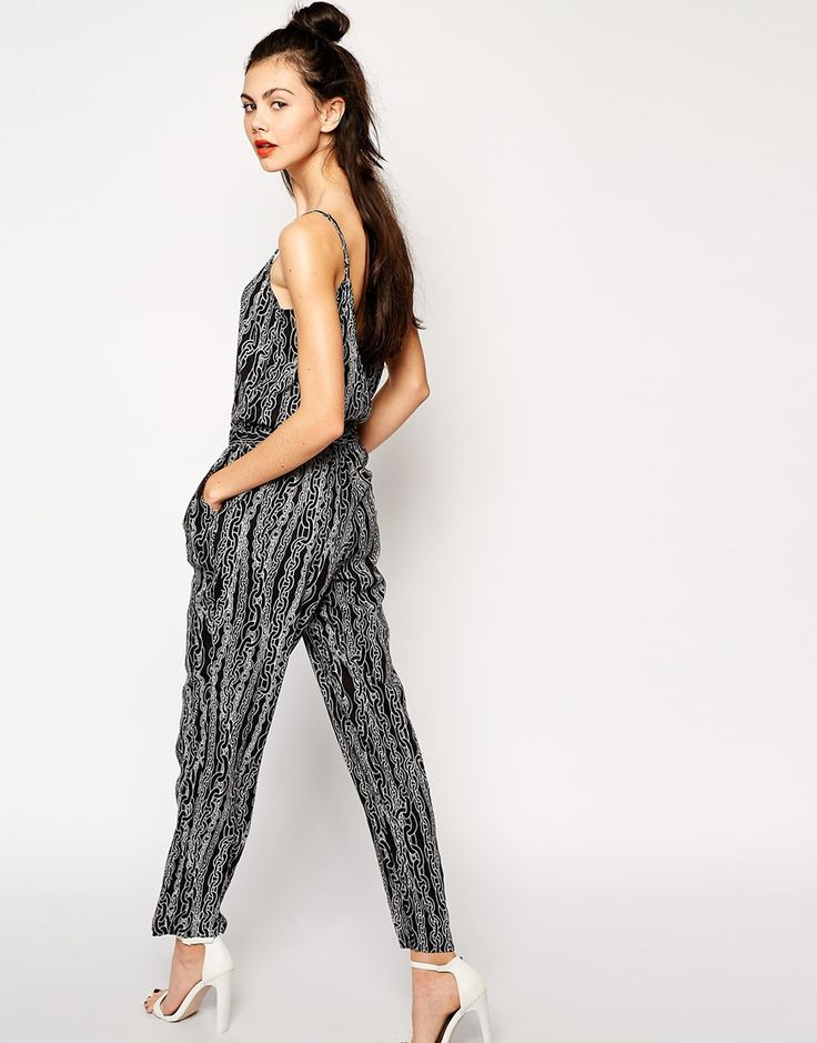 Monki+Chain+Print+Strappy+Jumpsuit