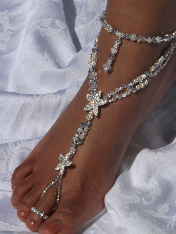 Rhinestone Starfish Barefoot Sandals Wedding Jewelry Beach Sandal Wedding Foot Jewelry Anklet Blue Barefoot Sandles Beach Wedding on Etsy, $235.00