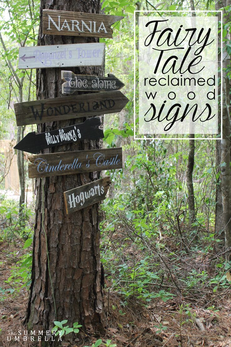 How cute would these fairy tale reclaimed wood signs look in your child's play area? Learn how to make one or all of them today!