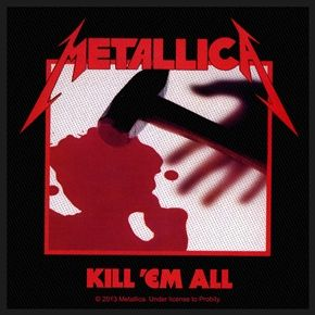 """Official Metallica sew on patch featuring Kill Em All design. Size approx 10cm (4"""") x 10cm (4""""), perfect for jackets, jeans, shirts, bags, hats etc"""