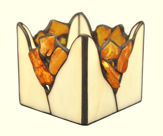 Tea light candle holder decorated with natural Baltic amber. Stained glass candle holder.