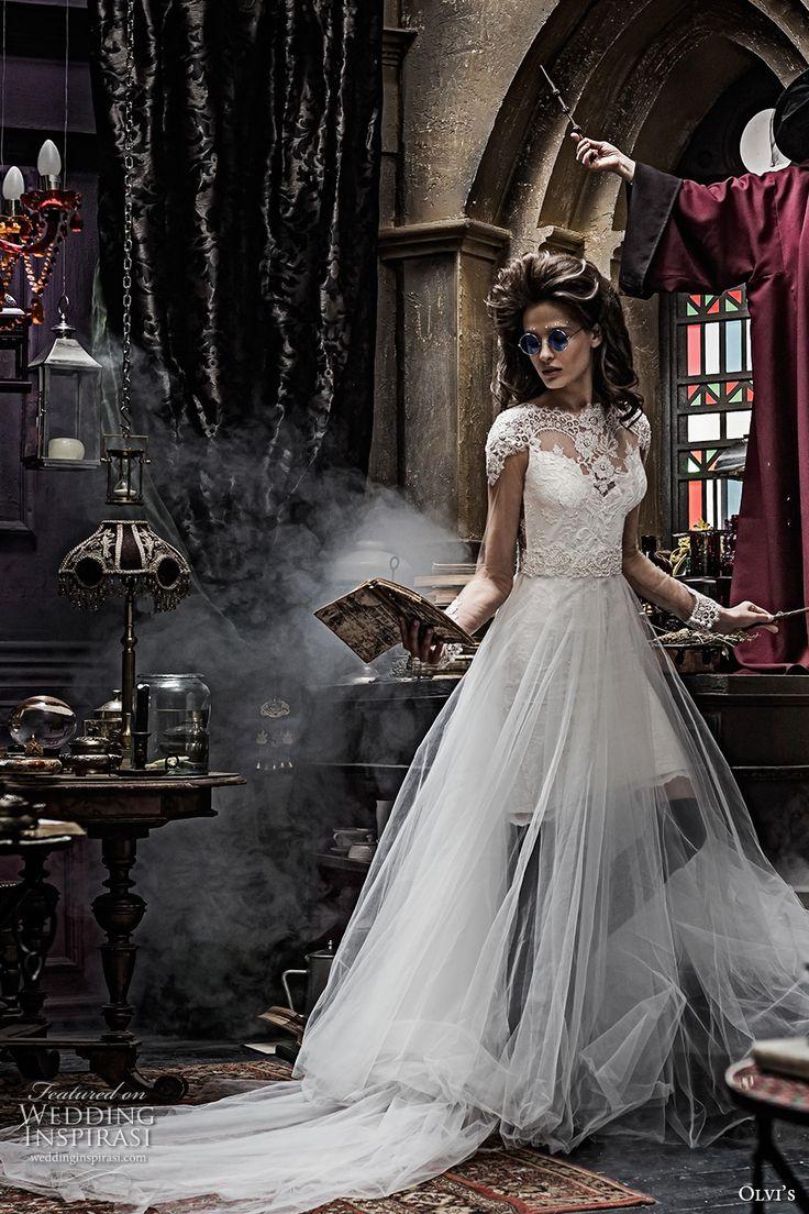 olvis 2017 couture bridal cap sleeves illusion bateau sweetheart neckline heavily embellished bodice tulle skirt romantic princess a  line wedding dress lace back chapel train (2291) mv