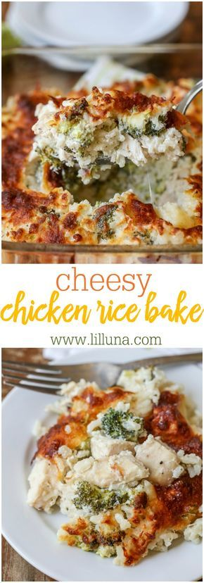 Cheesy Chicken Rice Bake - this delicious dinner ideas is filled with chicken, broccoli, rice, cream cheese and a TON of flavor!