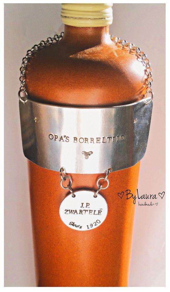 Jenever label metaal-wijn label-karaf etiket-alcohol by ByLaura1