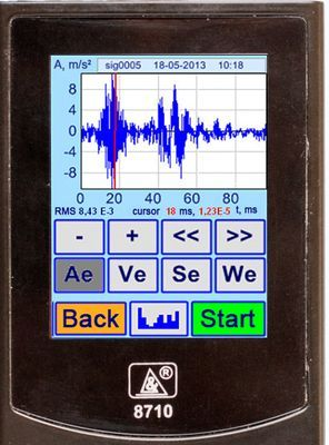 Vibration analyzer screen in the Vibration Acceleration Signal Time Mode. Time realization of the vibration acceleration signal