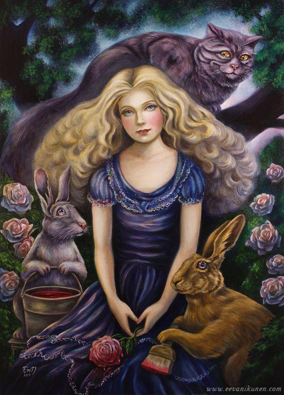 'Painting The Roses Red'. Alice in Wonderland oil painting by Eeva Nikunen.