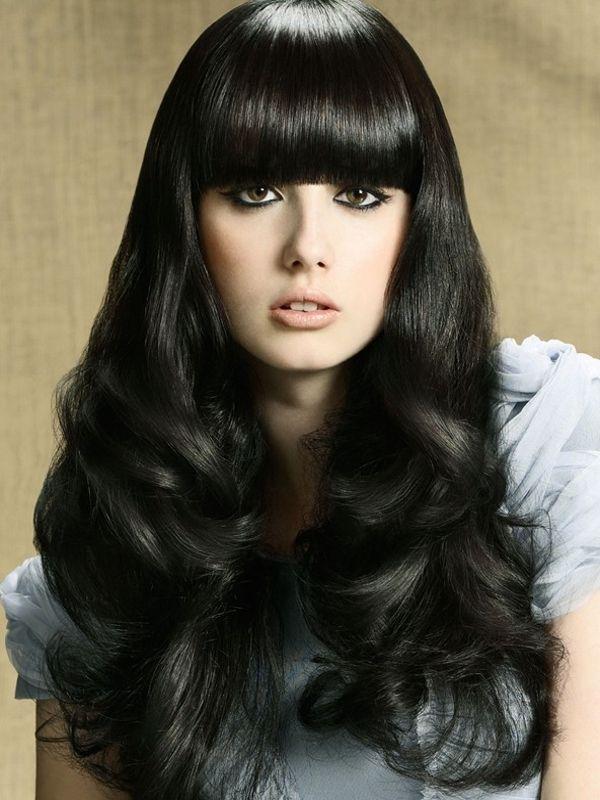 Long Dark Hairstyles with Blunt Bangs | Glam Blunt Bangs Long Haircuts 2012