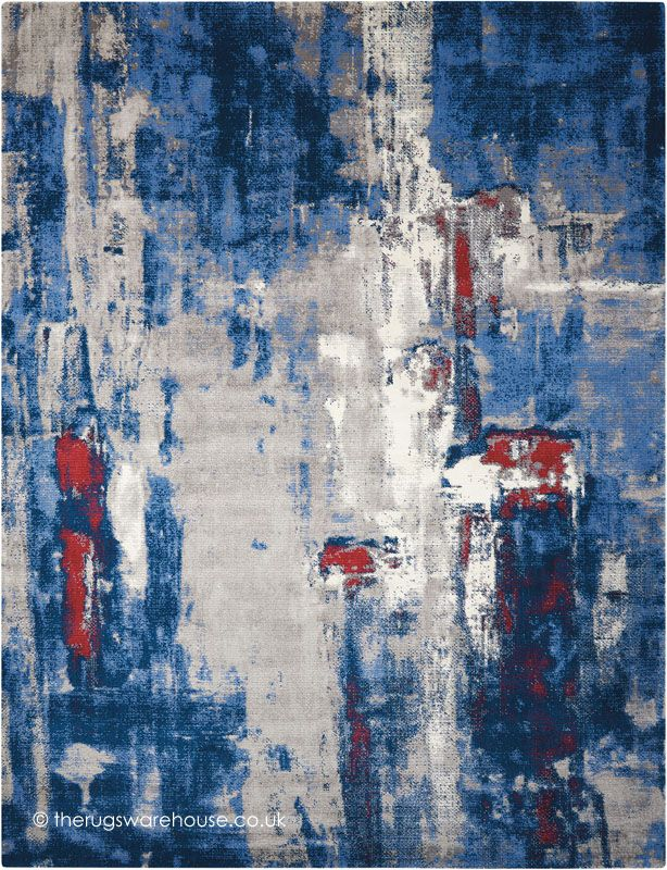 Twilight Chic Grey Blue Rug A Red Cream Abstract Modern