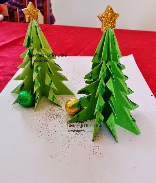 Life's little treasures: Kids craft - Origami Christmas tree | Origami Pine tree | Step by step tutorial