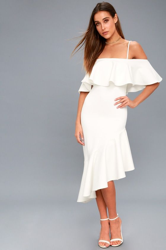 1b68fcd147d Here I Glam White Asymmetrical Off-the-Shoulder Midi Dress | Bridal ...