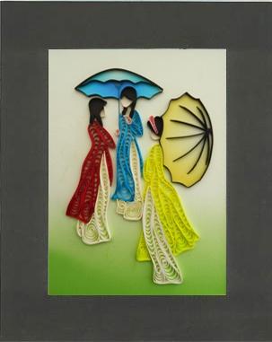Tranh giấy xoắn kích thước 20cm x 25cm (Code: A25). Quilling painting dimension 20cm x 25cm (Code: A25). http://shopmynghe.com/detail2.php?id=2838