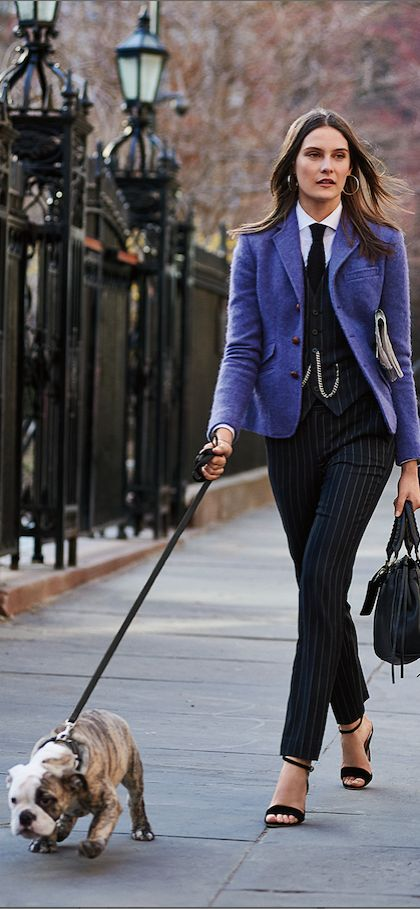 Well tailored: put a fresh spin on traditional style with a colorful wool  blazer and. Ivy StyleParisian StyleDress ...