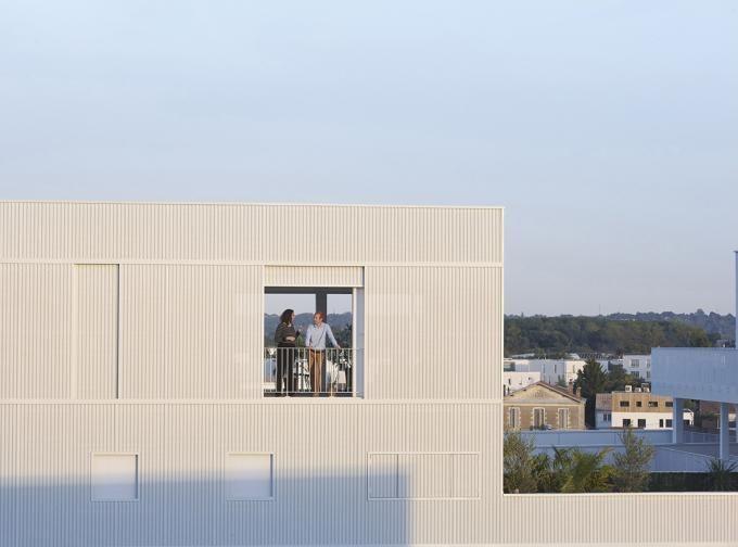 Detalle de fachada. 79 apartamentos en Bègles por LAN. Fotografía © Julien Lanoo.