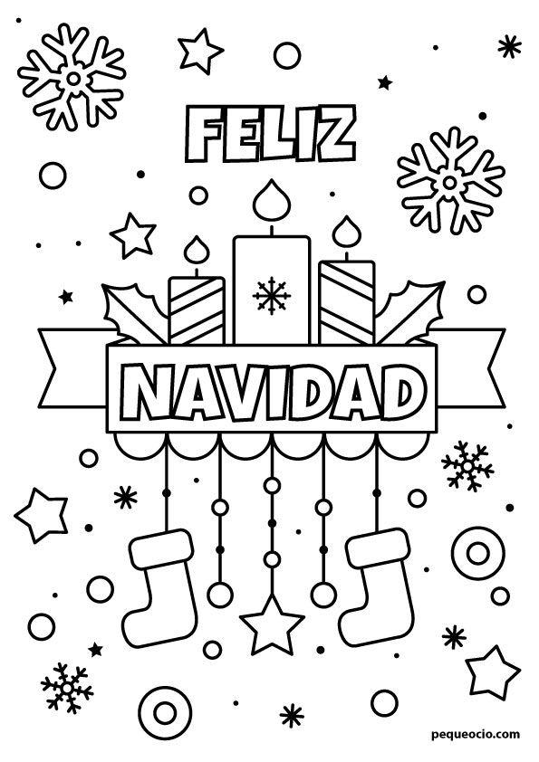 50 Dibujos De Navidad Para Colorear Y Aprender A Dibujar Pequeocio Dibujo Navidad Para Colorear Dibujos De Navidad Faciles Paginas Para Colorear De Navidad