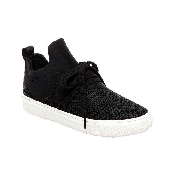 Women's Steve Madden Lancer Sneaker ($70) ❤ liked on Polyvore featuring shoes, sneakers, black, casual, black low heel shoes, black evening shoes, platform sneakers, low heel evening shoes and black laced shoes