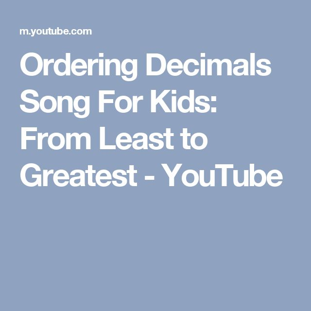 Read write and order decimals from greatest