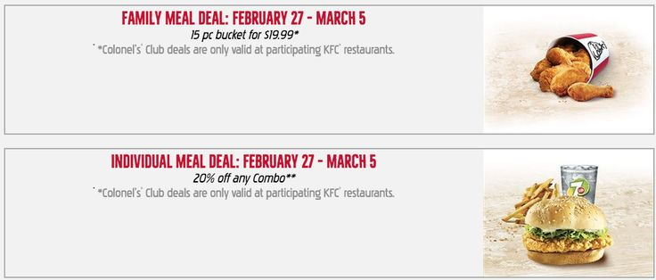 KFC Canada Colonels Club Weekly Deals: Family Meal Deal: 15 pc Bucket for $19.99 & Individual Meal Deal: 20% of... http://www.lavahotdeals.com/ca/cheap/kfc-canada-colonels-club-weekly-deals-family-meal/178478?utm_source=pinterest&utm_medium=rss&utm_campaign=at_lavahotdeals