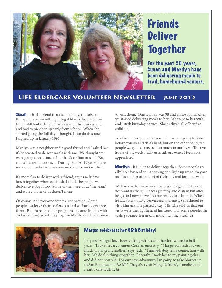 LIFE ElderCare Volunteer Newsletter June 2012 by LIFE ElderCare, via Slideshare
