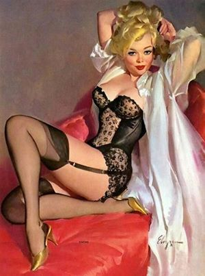 6ab90af2b9f Handprinted Cotton Art Applique Vintage Sexy Pin-up Girl - Art by Gil  Elvgren Simone