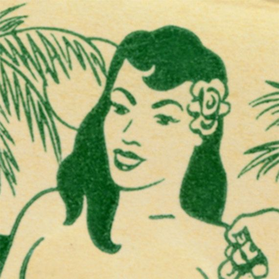 Hula Hut Print Retro Hawaiian Wall Art Tropical Bar Decor Hawaii Matchbook
