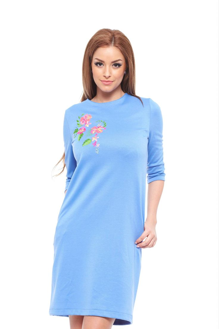 StarShinerS Exotic Blue Embroidered Dress, embroidery details, inside lining, 3/4 sleeves, with pockets, elastic fabric