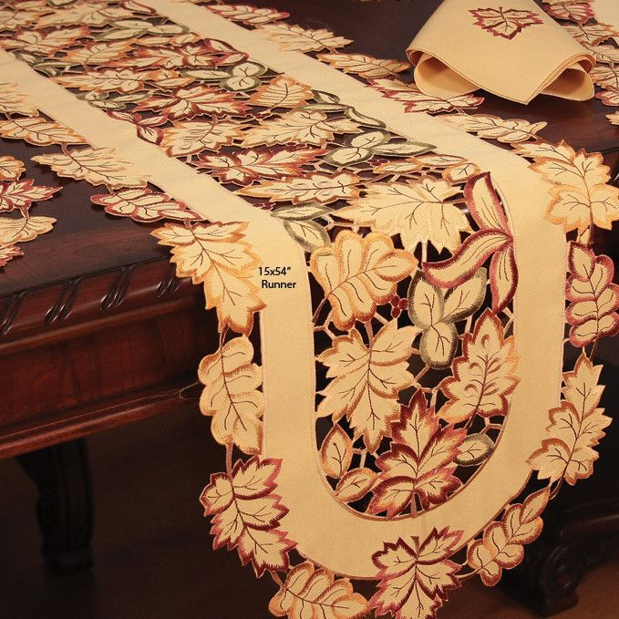 Bountiful Leaf Embroidered Cutwork Fall Table Runner