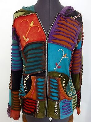 Patchwork-Jacket-Hoodie-Nepal-Hippie-Boho-Small-Womens-100-Cotton-Multi-Color